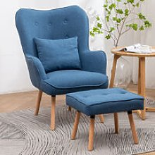 Linen Wingback Lounge Armchair and Footstool, Blue