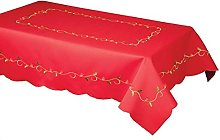 linen702 RED CHRISTMAS HOLLY VINE TABLECLOTH,