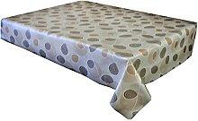 linen702 Vinyl Pvc Tablecloth, Brown Circles and