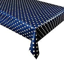 linen702 Vinyl Pvc Tablecloth Dark Blue Polka Dot