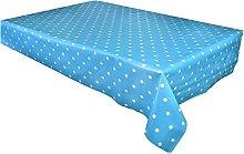 linen702 Vinyl Pvc Tablecloth Duck Egg Blue Polka
