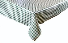 LINEN702 Vinyl Pvc Tablecloth Green and White