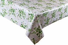 LINEN702 Vinyl Pvc Tablecloth Green Ivy with White