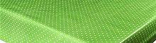 LINEN702 Vinyl Pvc Tablecloth Green Polka Dot 54