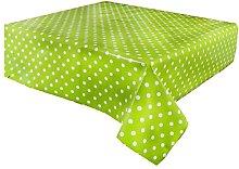 linen702 Vinyl Pvc Tablecloth Lime Green Polka Dot