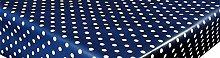 linen702 Vinyl Pvc Tablecloth Navy Blue Polka Dot