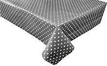 linen702 Vinyl Pvc Tablecloth Slate Grey Polka Dot