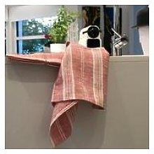 LinenMe - 132 x 250 cm Red Striped Linen Tablecloth