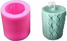 Lines Cylinder Candle Mold Knitting Wool Ball 3D