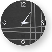 LINES TWO INLAYED WOOD CLOCK