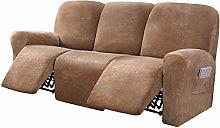 LINFKY 8-Pieces Stretch Velvet Recliner Sofa Cover