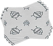 LINGF BBQ Signs Place Mats Set of 4,Grill Drawings