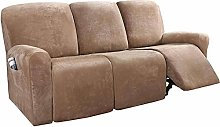 LINGKY 8-Pieces Recliner Sofa Covers Velvet