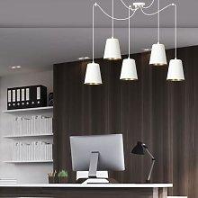 Link pendant light, 5 individual lampshades, white