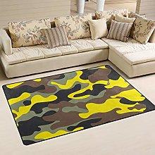 linomo Area Rug Camouflage Yellow Camo Grey Floor