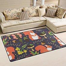 linomo Area Rug Cute Squirrel Floor Rugs Doormat