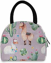 Linomo Cactus Flowers Lama Cute Alpaca Lunch Bag