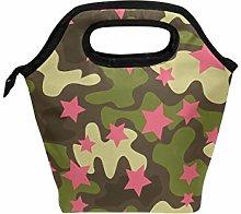 Linomo Camouflage Green Camo Pink Star Lunch Box