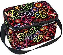 Linomo Colorful Flower Peace Love Symbol Lunch Box
