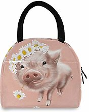 Linomo Cute Animal Pig Flower Daisy Lunch Bag