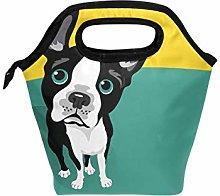 Linomo Cute Boston Terrier Dog Lunch Box Insulated