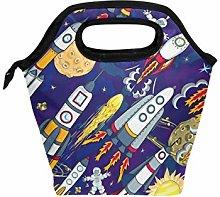 Linomo Cute Spacemen Rocket Planet Star Lunch Box