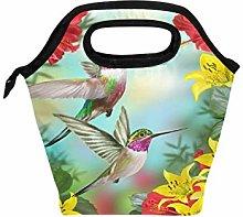 Linomo Floral Flower Hummingbird Bird Lunch Box