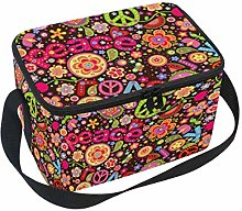 Linomo Floral Peace Love Sign Lunch Box Insulated