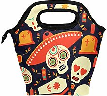 Linomo Funny Mexican Sugar Skull Lunch Box