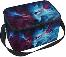 Linomo Galaxy Animal Wolf Face Lunch Box Insulated