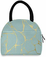 Linomo Gold Marble Blue Lunch Bag Cooler Bag