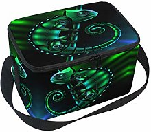 Linomo Green Chameleon Lizard Lunch Box Insulated
