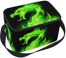 Linomo Green Dragon Lunch Box Insulated Lunch Bag,
