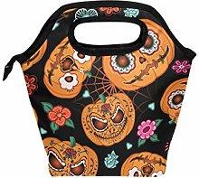 Linomo Halloween Pumpkin Flower Spiderweb Lunch