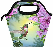 Linomo Hummingbird Floral Flower Lunch Box
