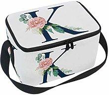 Linomo K Letter Alphabet Flower Lunch Box