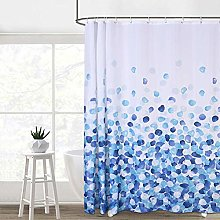 LinTimes Blue and White Fabric Shower Curtain Set