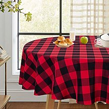 LinTimes Buffalo Check Black/Red Tablecloth Round