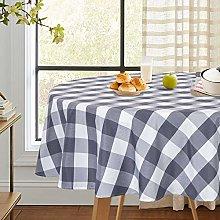 LinTimes Buffalo Check Grey/White Tablecloth Round