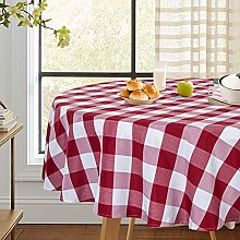 LinTimes Buffalo Check Red/White Tablecloth Round