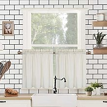LinTimes Cream Curtain Tiers, Waffle Pattern