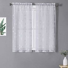 LinTimes Curtains Small Short Voile Bedroom