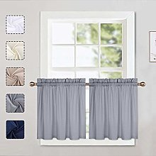 LinTimes Grey Curtain Tiers, Waffle Pattern