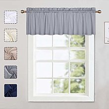 LinTimes Grey Curtain Valance, Kitchen Curtain