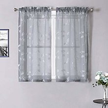LinTimes Grey Curtains Small Short Voile Bedroom