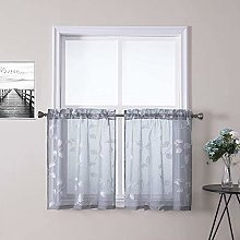LinTimes Grey Embroidery Sheer Voile Window