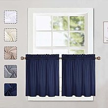 LinTimes Navy Curtain Tiers, Waffle Pattern