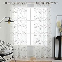 LinTimes Sheer Curtains, Leaf Embroidery Voile