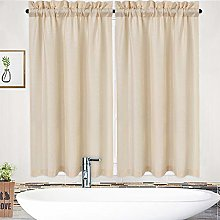 LinTimes Short Curtains,Waffle Weave Textured Rod