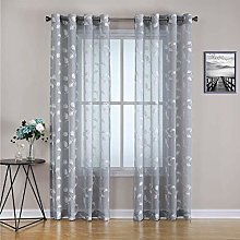 LinTimes Voile Curtains Classical Leaf Embroidery